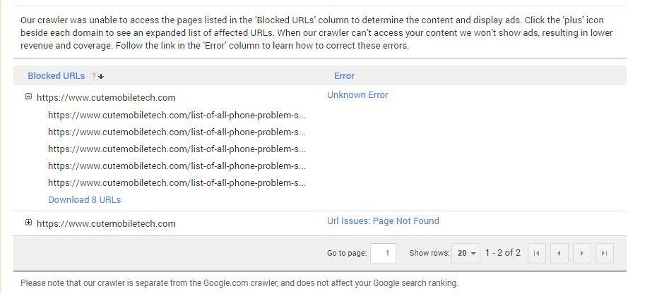 adsence crawler blocked URL